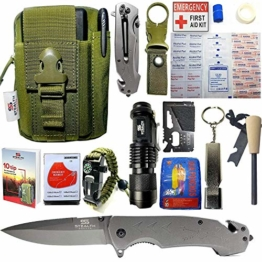 STEALTH SQUADS 42 in 1 SURVIVAL MILITARY POUCH KIT, PREMIUM TACTICAL POCKET KNIFE, FIRST AID KIT, EDC MULTI-TOOL USE FOR CAMPING, HIKING, BIKING, OUTDOOR EMERGENCY SAFETY GEARS w/ BONUS E-BOOK - 1