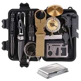 Survival Gear Kits 13 in 1- Outdoor Emergency SOS Survive Tool for Wilderness/Trip / Cars/Hiking / Camping gear - Wire Saw, Emergency Blanket, Flashlight, Tactical Pen, Water Bottle Clip ect, - 1