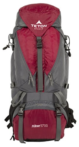 TETON SPORTS 1005 Hiker 3700 Ultralight Internal Frame Backpack – Not Your Basic Backpack; High-Performance Backpack for Hiking, Camping, Travel, and Outdoor Activities; Sewn-In Rain Cover; Red - 1
