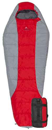TETON SPORTS 1037 Tracker Ultralight Mummy Sleeping Bag; Lightweight Backpacking Sleeping Bag for Hiking and Camping Outdoors; All Season Mummy Bag; Sleep Comfortably Anywhere; Red/Grey - 1
