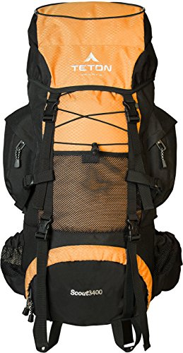 TETON SPORTS 161 Scout 3400 Internal Frame Backpack; High-Performance Backpack for Backpacking, Hiking, Camping; Mecca Orange - 1