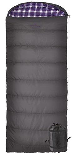 TETON Sports Fahrenheit Regular 0F/-18C Sleeping Bag, for Women; TETON Sleeping Bag Great for Cold Weather Camping; Lightweight Sleeping Bag; Hiking, Camping; Grey/Purple, Right Zip - 1