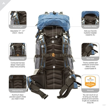 TETON Sports Outfitter 4600 Ultralight Internal Frame Backpack – Not Your Basic Backpack; High-Performance Backpack for Hiking, Camping, Travel, and Outdoor Activities; Sewn-In Rain Cover - 4