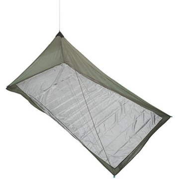 The Friendly Swede Mosquito Net Canopy for Single Camping Bed, Tent Pegs Included - Compact and Lightweight Pyramid Net (Army Green) - 2
