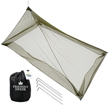 The Friendly Swede Mosquito Net Canopy for Single Camping Bed, Tent Pegs Included - Compact and Lightweight Pyramid Net (Army Green) - 1