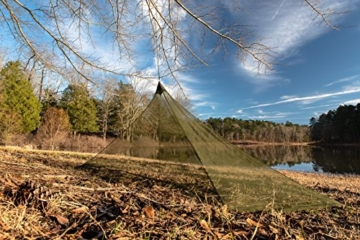 The Friendly Swede Mosquito Net Canopy for Single Camping Bed, Tent Pegs Included - Compact and Lightweight Pyramid Net (Army Green) - 5