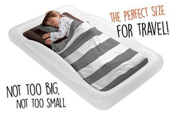 The Shrunks Toddler Travel Bed Portable Inflatable Air Mattress Bed for Travel, Camp or Home Use, Kids Size with Security Rails 60 x 37 x 9 inches - - 2