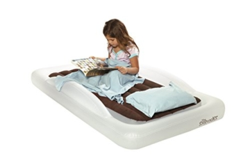 The Shrunks Toddler Travel Bed Portable Inflatable Air Mattress Bed for Travel, Camp or Home Use, Kids Size with Security Rails 60 x 37 x 9 inches - - 12