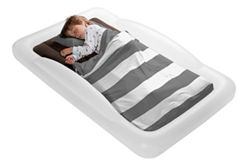 The Shrunks Toddler Travel Bed Portable Inflatable Air Mattress Bed for Travel, Camp or Home Use, Kids Size with Security Rails 60 x 37 x 9 inches - - 9