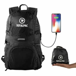 Totalpac Lightweight Hiking Travel Backpack Men & Women - Ultralight Packable Outdoor Back Pack Any Hike - Small Foldable Daypack USB Cable Charging Gear While Trave (Black) - 1