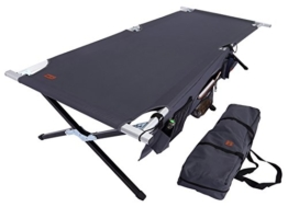 Tough Outdoors Camp Cot [XL] with Free Organizer & Storage Bag - Military Style Folding Bed for Camping, Traveling, Hunting, and Backpacking - Lightweight, Heavy-Duty & Portable Cots for Adults - 1