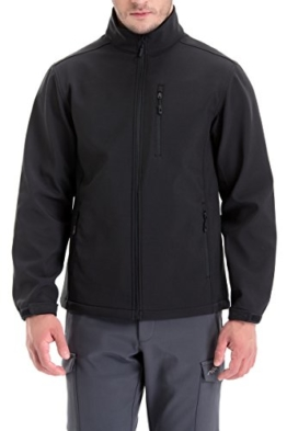 Trailside Supply Co. Men's Softshell Jacket Zip-Front Fleece-Lined Mens Outdoor Windproof Winter Outerwear(Black-M) - 1