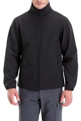 Trailside Supply Co. Men's Softshell Jacket Zip-Front Fleece-Lined Mens Outdoor Windproof Winter Outerwear(Black-M) - 1