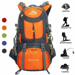 Travel Backpack Ucharge 50L Waterproof Hiking Backpack Outdoor Sport Daypack with a Rain Cover for Climbing Mountaineering Fishing Travel Cycling(Orange) - 1