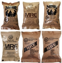 ULTIMATE MRE, Pack Date Printed on Every Meal - Meal-Ready-To-Eat. Inspected Certified by Western Frontier. Genuine Mil Surplus. (6-Pack) - 1