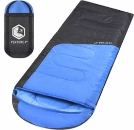 VENTURE 4TH Sleeping Bags for Adults | Lightweight and Compact Sleeping Bag for Hiking, Camping and Backpacking | Blue/Gray - 1