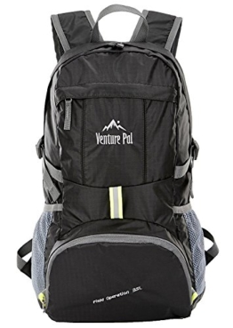 Venture Pal Lightweight Packable Durable Travel Hiking Backpack Daypack-Black - 1
