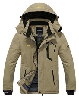 Wantdo Men's Waterproof Mountain Jacket Fleece Windproof Ski Jacket US XL  Khaki XL - 1