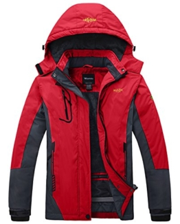 Wantdo Women's Waterproof Mountain Jacket Fleece Ski Jacket, Large, Red - 1