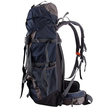 WASING 55L Internal Frame Backpack for Outdoor Hiking Travel Climbing Camping Mountaineering with Rain Cover WS-55Lpack-darkblue - 2