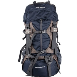 WASING 55L Internal Frame Backpack for Outdoor Hiking Travel Climbing Camping Mountaineering with Rain Cover WS-55Lpack-darkblue - 1