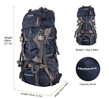 WASING 55L Internal Frame Backpack for Outdoor Hiking Travel Climbing Camping Mountaineering with Rain Cover WS-55Lpack-darkblue - 5