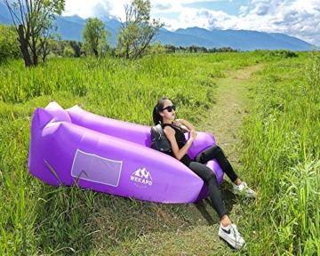 WEKAPO Inflatable Lounger Air Sofa Hammock-Portable,Water Proof& Anti-Air Leaking Design-Ideal Couch for Backyard Lakeside Beach Traveling Camping Picnics & Music Festivals - 5