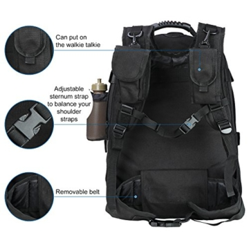 WolfWarriorX Military Tactical Assault Backpack 3-Day Expandable Backpack Extreme Water Resistant Molle Rucksack for The Outdoors, Camping, Hiking & Trekking (Black) - 2