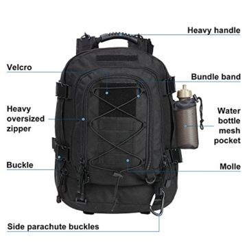 WolfWarriorX Military Tactical Assault Backpack 3-Day Expandable Backpack Extreme Water Resistant Molle Rucksack for The Outdoors, Camping, Hiking & Trekking (Black) - 3