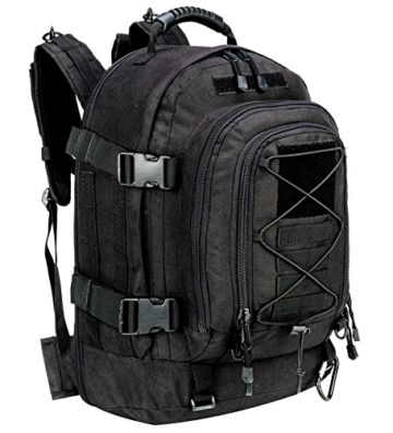 WolfWarriorX Military Tactical Assault Backpack 3-Day Expandable Backpack Extreme Water Resistant Molle Rucksack for The Outdoors, Camping, Hiking & Trekking (Black) - 1