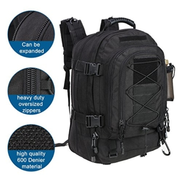 WolfWarriorX Military Tactical Assault Backpack 3-Day Expandable Backpack Extreme Water Resistant Molle Rucksack for The Outdoors, Camping, Hiking & Trekking (Black) - 5