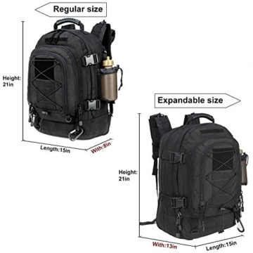 WolfWarriorX Military Tactical Assault Backpack 3-Day Expandable Backpack Extreme Water Resistant Molle Rucksack for The Outdoors, Camping, Hiking & Trekking (Black) - 6