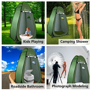 WolfWise Shower Tent Privacy Portable Camping Beach Toilet Pop Up Tents Changing Dressing Room Outdoor Backpack Shelter Green - 2