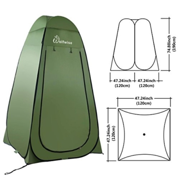 WolfWise Shower Tent Privacy Portable Camping Beach Toilet Pop Up Tents Changing Dressing Room Outdoor Backpack Shelter Green - 5