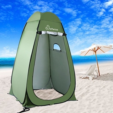 WolfWise Shower Tent Privacy Portable Camping Beach Toilet Pop Up Tents Changing Dressing Room Outdoor Backpack Shelter Green - 6