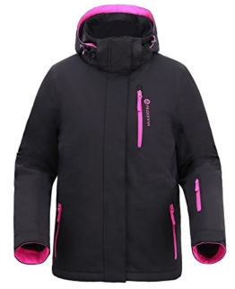 Women Insulated Windproof Mountain Fishing Hiking Snowboarding Jacket,Blk/Pink,M - 1