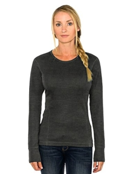 Woolx Hannah - Women's Merino Wool Top - Midweight, Moisture Wicking Merino Wool Base Layer, Small, Charcoal Heather - 1