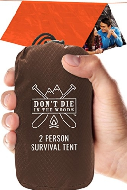 World's Toughest Ultralight Survival Tent  2 Person Mylar Emergency Shelter Tube Tent + Paracord  Year-Round All Weather Protection For Hiking, First Aid Kits, & Outdoor Survival Gear - 1